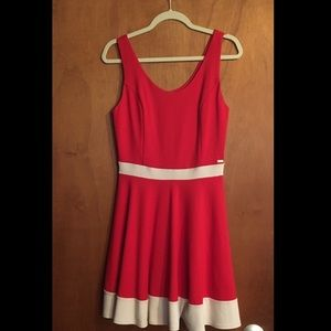Guess red and cream A-line dress
